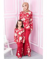QA-554 KIDS FLORAL KURUNG RED