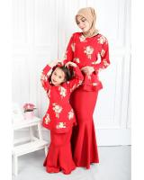 QA-555 WOMEN'S PEPLUM KURUNG RED