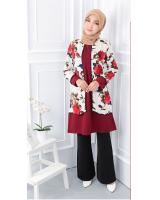 QA-558 WOMEN'S FRONT ZIP BLOUSE WHITE MAROON