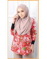 QA-563 WOMEN'S PRINTED TOP 01 RED
