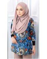 QA-563 WOMEN'S PRINTED TOP 02 BLUE