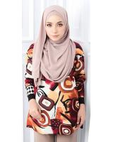 QA-563 WOMEN'S PRINTED TOP 03 BROWN
