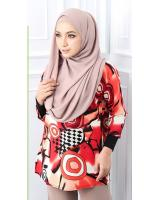 QA-563 WOMEN'S PRINTED TOP 03 RED