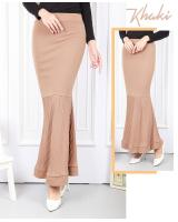 QA-566 PLEAT DUYUNG MAXI SKIRT KHAKI