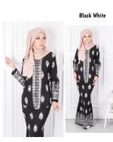 QA-568 MODERN SONGKET KEBAYA SET BLACK WHITE