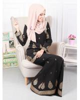 QA-573  MODERN SONGKET KURUNG SET BLACK GOLD