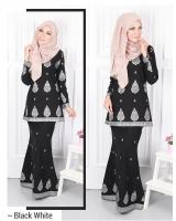 QA-573 MODERN SONGKET KURUNG SET BLACK WHITE