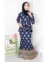 QA-574 PEPLUM MODERN SONGKET PRINTED SET NAVY BLUE