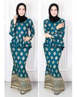 QA-574 PEPLUM MODERN SONGKET PRINTED SET EMERALD GREEN