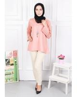 QA-581 WOMEN'S FLARE SLEEVES BLOUSE PINK