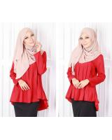 QA-582 PLEATED FLARE BLOUSE RED