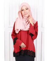 QA-596 CLASSIC LACE BLOUSE RED