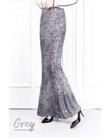 QA-622 PRINTED MERMAID MAXI SKIRT GREY