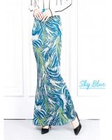 QA-622 PRINTED MERMAID MAXI SKIRT SKY BLUE