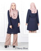 QA-630 FRONT ZIP JASMINE BLOUSE NAVY BLUE