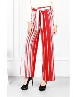 QA-633 PRINTED FLARE PANTS RED