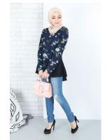 QA-663 FLORAL PRINTED A LINE BLOUSE NAVY BLUE