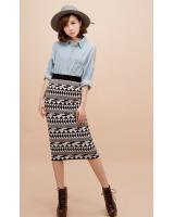 BM71153 PRINTED SKIRT AS PICTURE