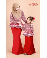 QA-689 PEPLUM KURUNG SET RED