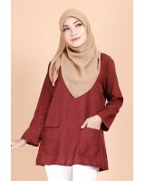 QA-692 BASIC WOMEN'S BLOUSE MAROON