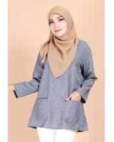 QA-692 BASIC WOMEN'S BLOUSE BLUE GREY
