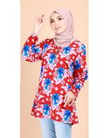 QA-700 FLORAL BATIK BLOUSE RED