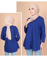 QA-775 FRONT BUTTON BLOUSE BLUE