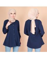 QA-775 FRONT BUTTON BLOUSE NAVY BLUE