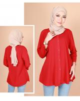 QA-775 FRONT BUTTON BLOUSE RED