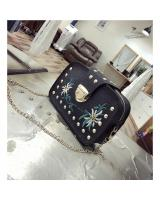 KW80812 Embroidery Women's Sling Bag Black
