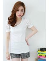 BM71332 Lace Sleeve Top White