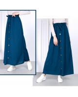 QA-814 A LINE BUTTON SKIRT BLUE