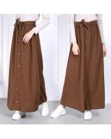 QA-814 A LINE BUTTON SKIRT BROWN
