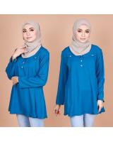 QA-821 FRONT BUTTON BLOUSE SKY BLUE
