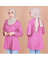 QA-821 FRONT BUTTON BLOUSE HOT PINK