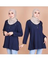 QA-821 FRONT BUTTON BLOUSE NAVY BLUE