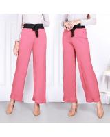 QA-822 TIE STRAIGHT CUTTING PANTS PINK
