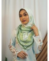 SW5437 Floral Printed (IRONLESS) Scarf Green