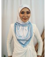 SW5437 Floral Printed (IRONLESS) Scarf Blue