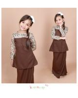 QA-853 - Kids Lace Sleeve Peplum Baju Kurung Brown
