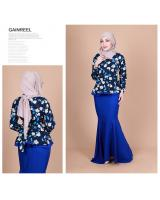 QA-855 - Fashion Flora Layer Peplum Baju Kurung Blue