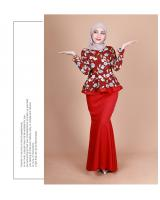 QA-855 - Fashion Flora Layer Peplum Baju Kurung Red