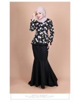 QA-855 - Fashion Flora Layer Peplum Baju Kurung Black
