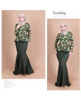 QA-855 - Fashion Flora Layer Peplum Baju Kurung Green
