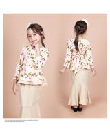 QA-856 - Kids Flora Layer Peplum Baju Kurung Cream