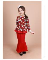 QA-856 - Kids Flora Layer Peplum Baju Kurung Red