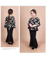 QA-856 - Kids Flora Layer Peplum Baju Kurung Black