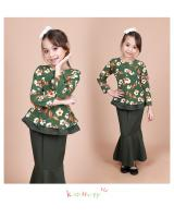 QA-856 - Kids Flora Layer Peplum Baju Kurung Green