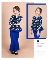 QA-856 - Kids Flora Layer Peplum Baju Kurung Blue