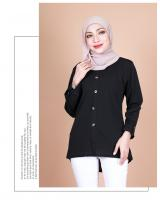 QA-857 - Stylish Long Sleeve Button Blouse Black
